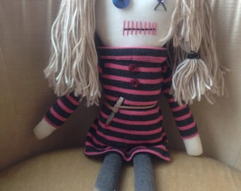 "Creepy n Cute Zombie Doll - ""Lizzie"" - Inspired by TWD (D & P)"