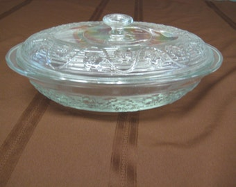 Casserole  Oval with Lid, Clear Oven Proof Glass, Princess House.