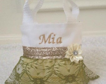 Olive Green and Gold Lace Flower Girl Purse,Will You Be My Flower Girl, Flower Girl Gift, Birthday Gift, Party Favor Bags,