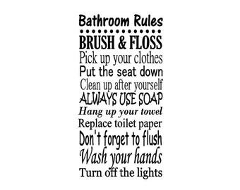 Bathroom Rules Decal, Vinyl Wall Art, Family Room Decor, Family Subway Art, Personalized Bathroom Decal, Bathroom Decal, Interior Wall Art