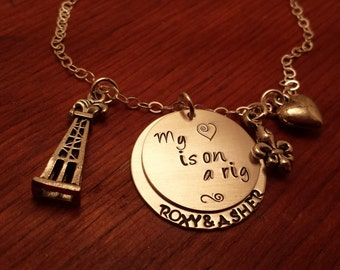 Hand stamped-Oil Rig-Oilfield necklace-My heart is on a rig-Oilfield wife necklace-Oilfield wife gift-Together forever