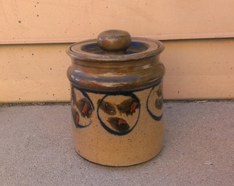 Vintage  Cookie Jar Kitchen Canister, Ceramic Urn, Signed Branch, Handmade Canister, Farmhouse Kitchen