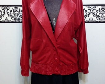 Lipstick Red Rockabilly Blazer by Lori of California 80's Does 50's, Vintage Pin Up, Large / XL