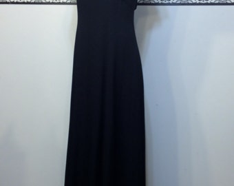 Black Formal Pin Up Evening Gown , 80's does 50's Size 11 / 12, Vintage Black Tie / Cocktail Floor Length Dress w/ Empire Waist A la Marilyn