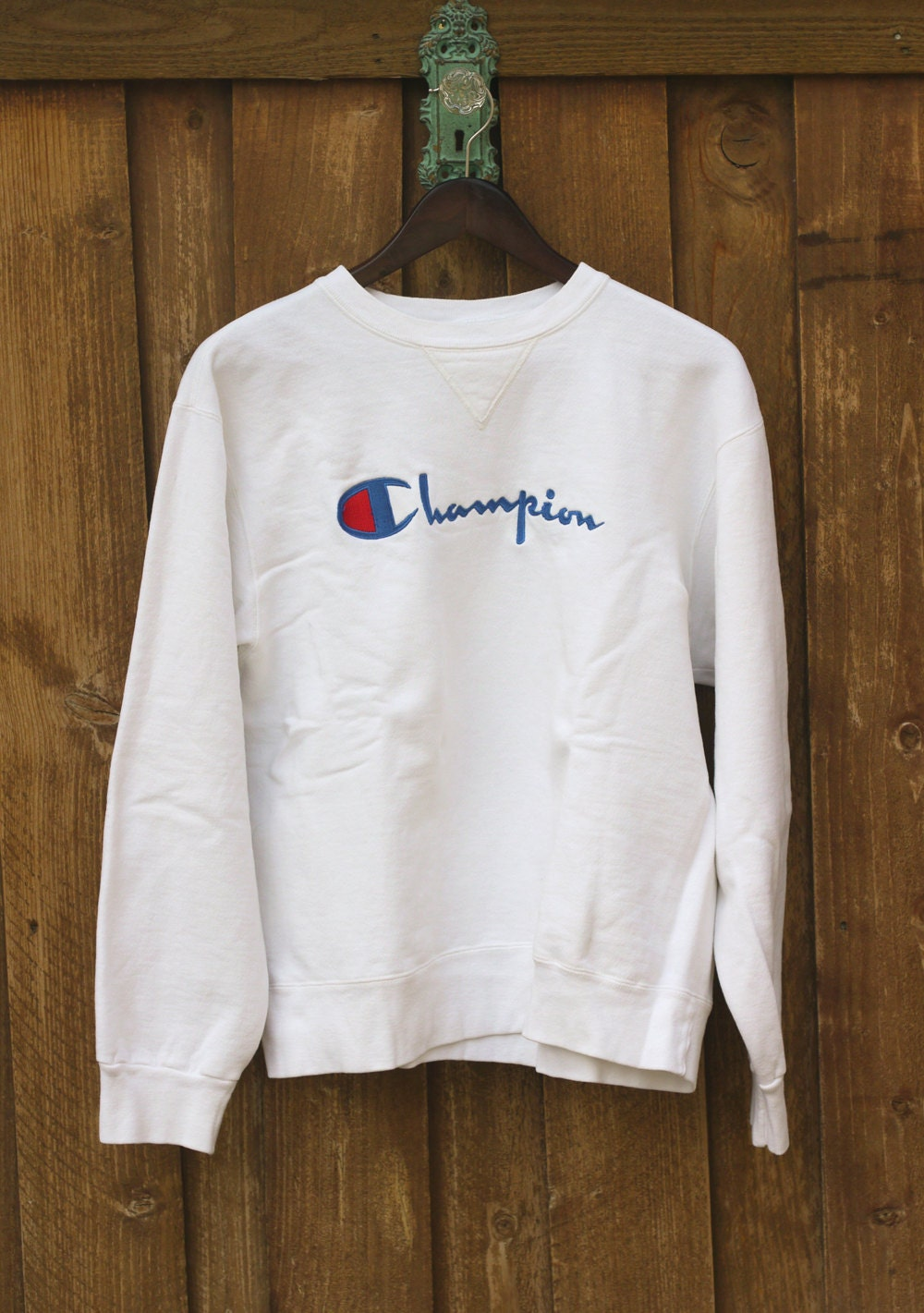 90 s pull pull ann es 80 champion sweatshirt blanc gros m dium. Black Bedroom Furniture Sets. Home Design Ideas