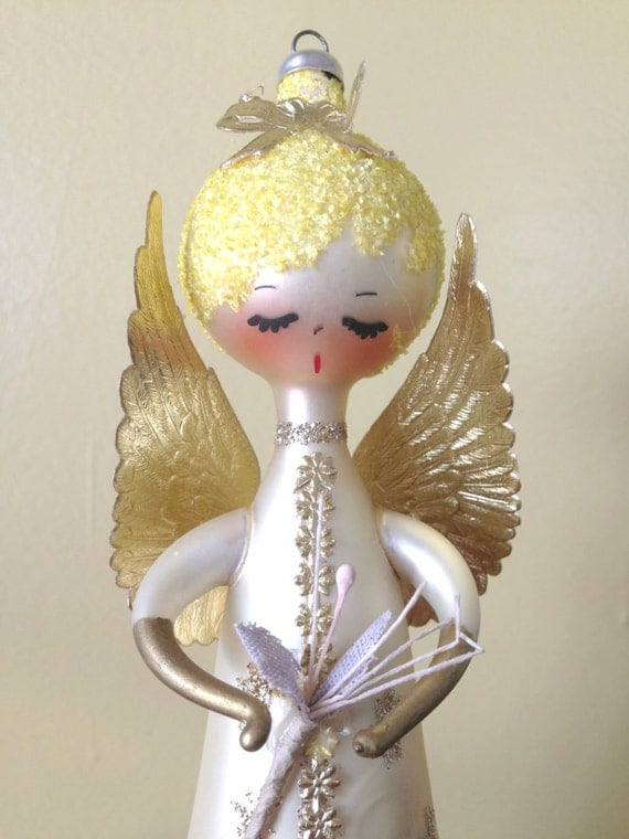 Vintage angel blown glass italy christmas ornament