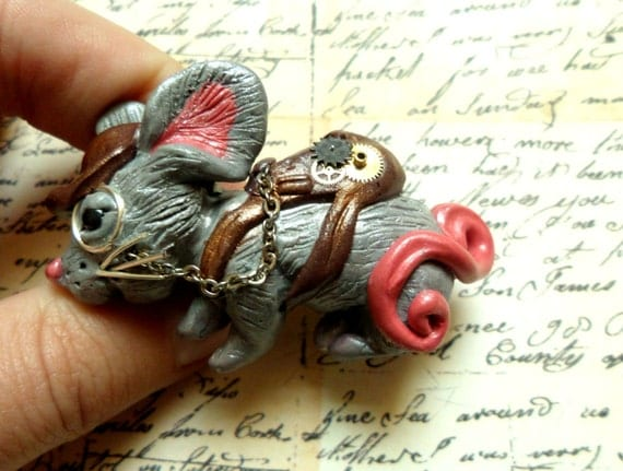 Cute Steampunk Mouse Brooch, handmade from polymer clay using watch parts and monacle