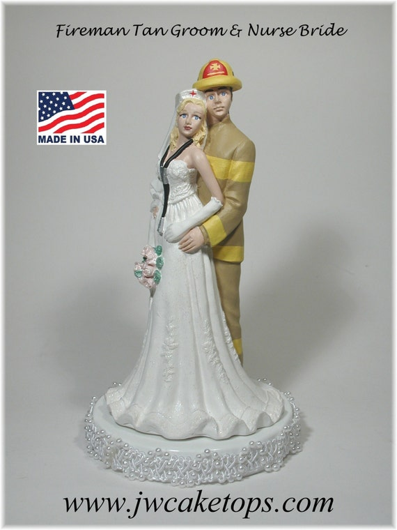 redhead wedding cake topper fireman groom and wedding cake by jwcaketops 19127