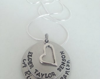 LDS Mormon Custom Missionary Name and Mission Field Hand Stamped Silver Necklace