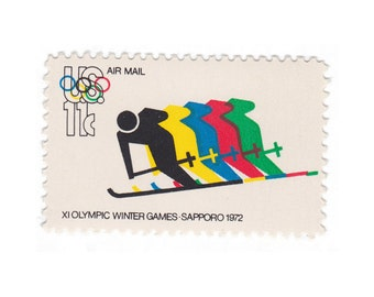 1972 11c Olympic Skiing - 10 Unused Vintage Postage Stamps - Item No. C85