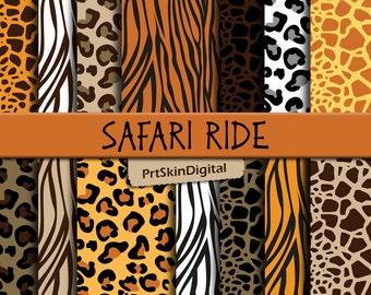 """Safari Digital Paper, Animal Print Digital Paper """"Safari Ride"""", Leopard Digital Paper, Giraffe Digital Paper for Scrapbooking & Paper Crafts"""