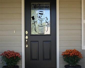 Welcome Front Door Decal with Snowman #2  HS11
