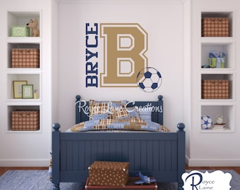 soccer wall decal varsity letter decal with personalized name and soccer ball b24 sports wall decal soccer ball wall decal