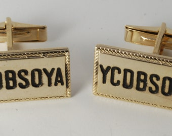 "Vintage Gold Plated Brass & Black Enamel ""YCDBSOYA"" Men's Cuff Links new old stock"