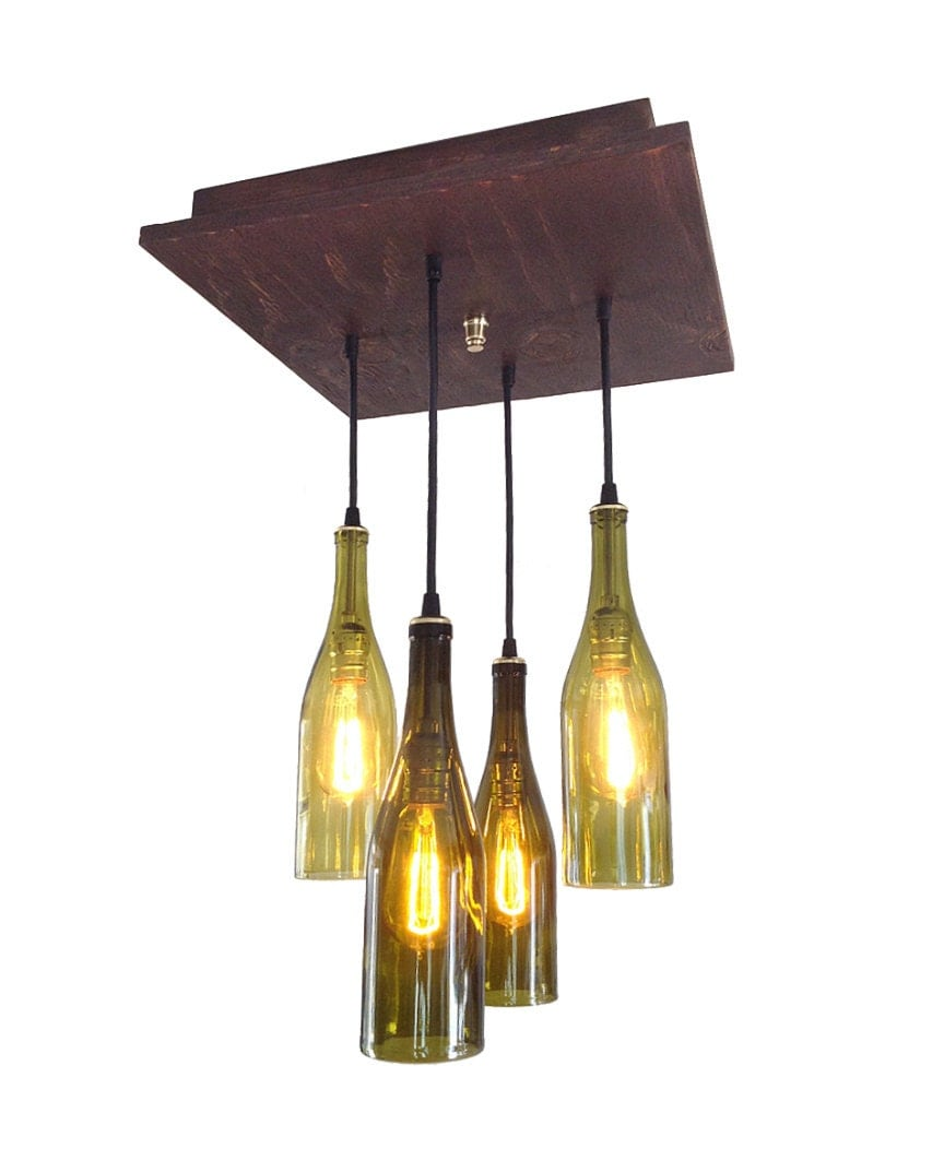 rustic wine bottle chandelier wine bottle by. Black Bedroom Furniture Sets. Home Design Ideas