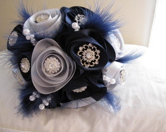SALE! 40% off!  Handmade bridal bouquet in blue and silver satin roses with rhinestone brooches, faux pearls and feathers