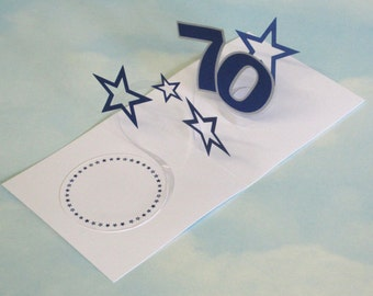 70th Birthday Card Spiral Pop Up 3D - Blue Stars