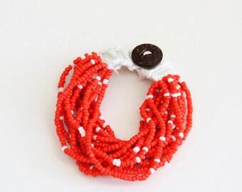 Red White Beaded Bracelet