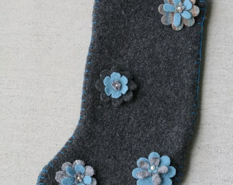 Christmas Stocking #15; up-cycled felted wool sweater