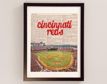 Cincinnati Reds Dictionary Art Print - Great American Ballpark, Ohio - Print on Vintage Dictionary Paper - Baseball Art - Gift For Him