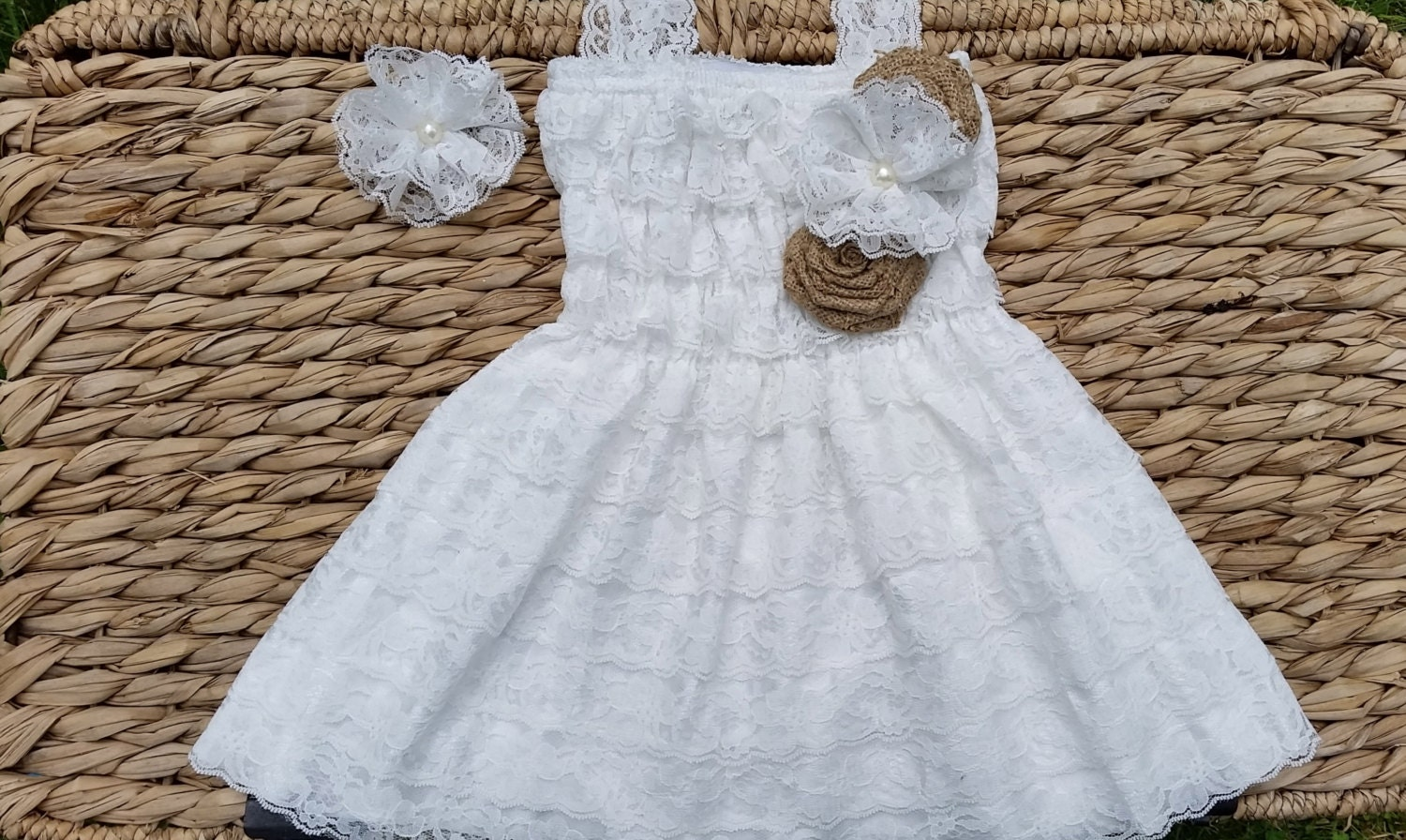 Rustic Flower Girl Dress White Lace Flower by CountryCoutureCo