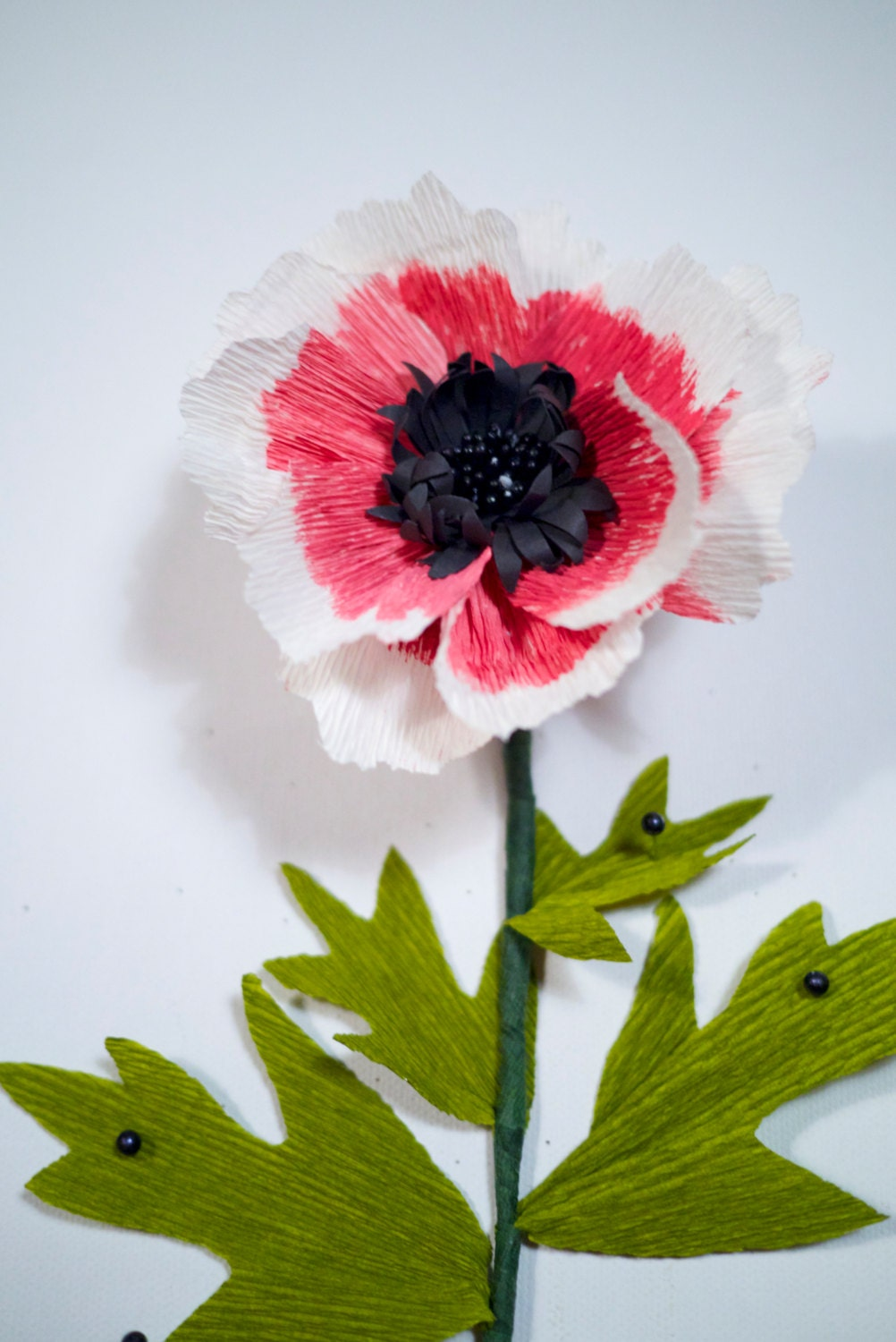 Hand painted handmade paper flowerany color wedding for Painted paper flowers