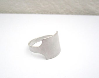 Ring 'blank page - rectangle',silver ring minimal ring minimalist, empty signet ring - MADE TO ORDER