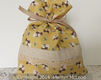 """Fabric gift bag, book, toy or travel bag - vintage retro kitty fabric with trim and lace, gold, brown, cream, green, 7-3/4"""" x 9-3/4""""."""