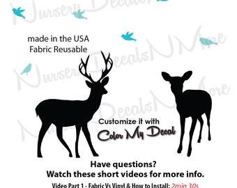 Deer Decals, Deer Nursery Decals, Bird Decal, Deer Wall Stickers (Deer & Birds Only) AOC