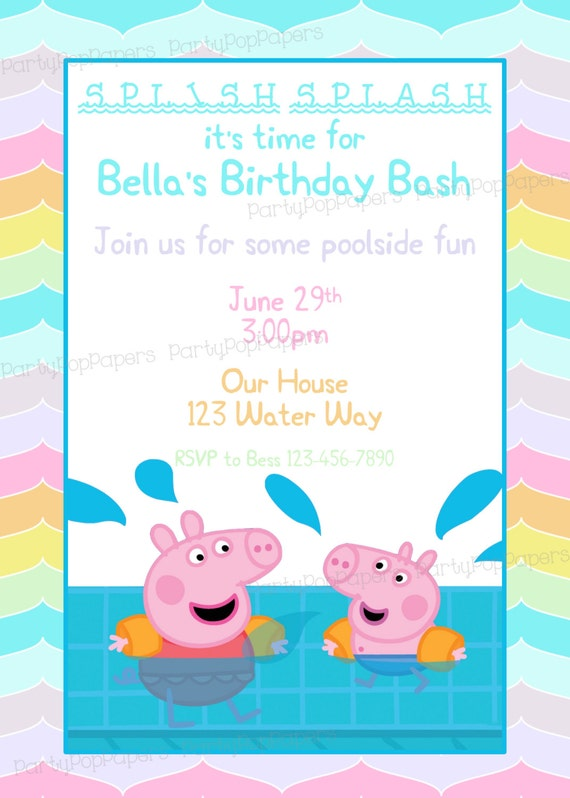 Gratifying image with peppa pig printable invitations
