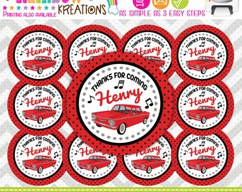 FVTAGS-682: DIY - 1960's Chevy Corvair Favor Tags Or Stickers