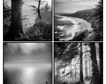 Ocean Photo Art, Pacific Coast Photo, Beach Forest Photo, Pacific Ocean Art, Photo set, Black white Photos, California Photo, Oregon Photo