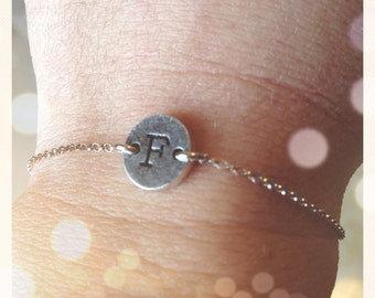Bracelet with initial connector silver black