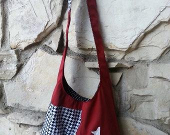 Hobo bag, University or Alabama, hand painted, across the body, reversible,  hobo bag. College football bag, Alabama university items.
