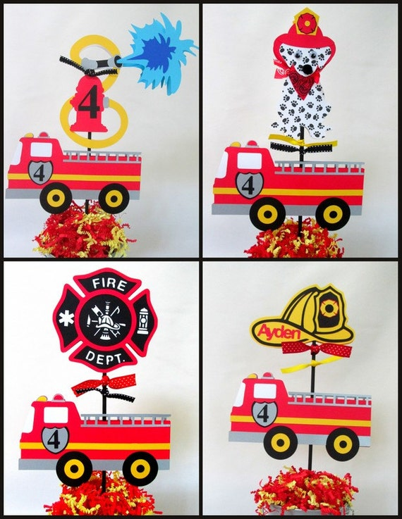 Items similar to fire engine truck birthday theme