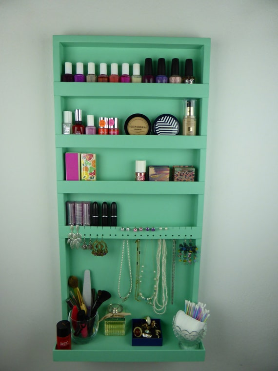 Mint green makeup jewelry organizer nail polish rack