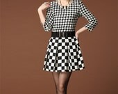 038. Fashion Plaid Patchwork Swallow Gird Dress British Fashion Pattern Sexy Elegant O Neck Pull-over Three Quarter Sleeve Smocked Dresses