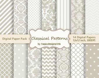 "Classical Damask Chevron Quatrefoil Wedding Patterns Digital Paper Pack of 14, 300dpi, 12""x12""Instant Download Scrapbooking, Invites JPG"