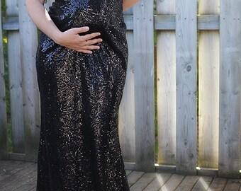Reduced price: Maternity evening dress, sequin black dress