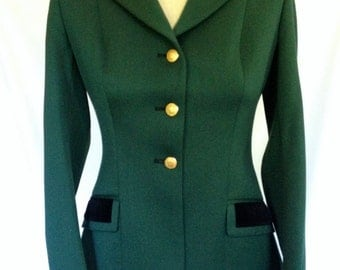 1940's Mint Condition Hunter Green Pytchley Equestrian Jacket/ with Velvet Collar and Brass Horse Head Buttons/ Made in England