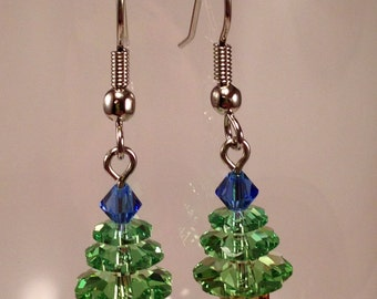 Swarovski Crystal Christmas Tree Earrings in Pale Green with Pastel Blue Top (small)