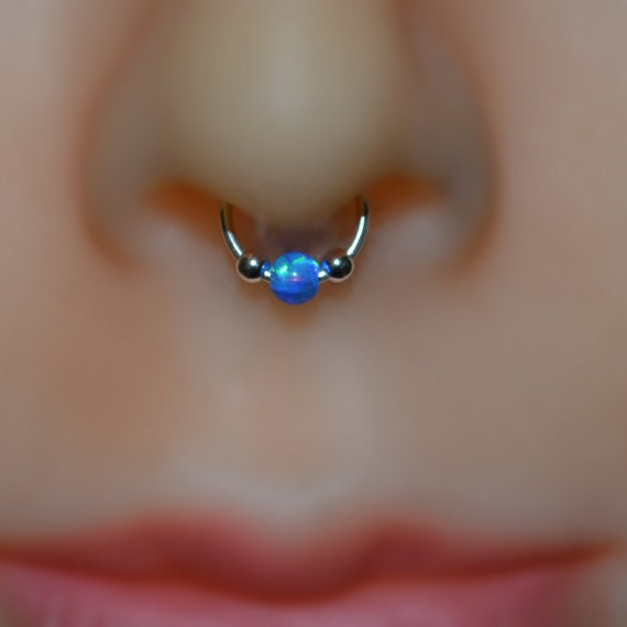 3mm Opal Septum Ring - Silver Nose Ring - Helix Earring - Rook Earring - Nipple Ring - Cartilage Piercing - Daith Piercing 20 gauge