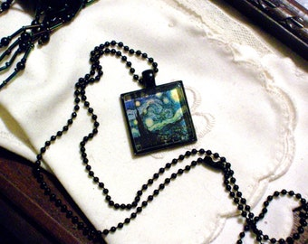 Van Gogh's Starry Night Necklace - Black Pendant Setting and Ball Chain - 25mm Square Glass Cabochon