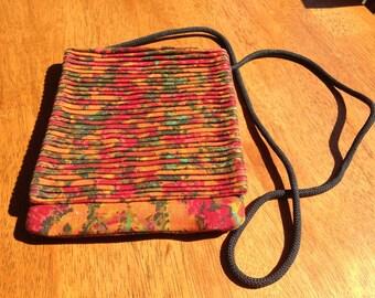 Pleated vintage linen print fabric handbag
