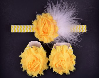 Yellow Chevron Feather Headband and Barefoot Sandal Set - Baby Headband - Barefoot Baby Sandals