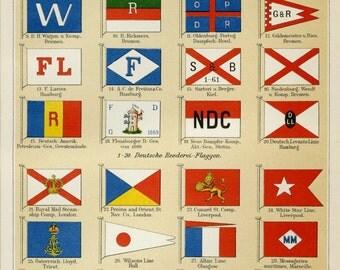 "Matted Antique Marine Signal Flag Print C. 1894 International Flags 11x14"" Vintage Decor"