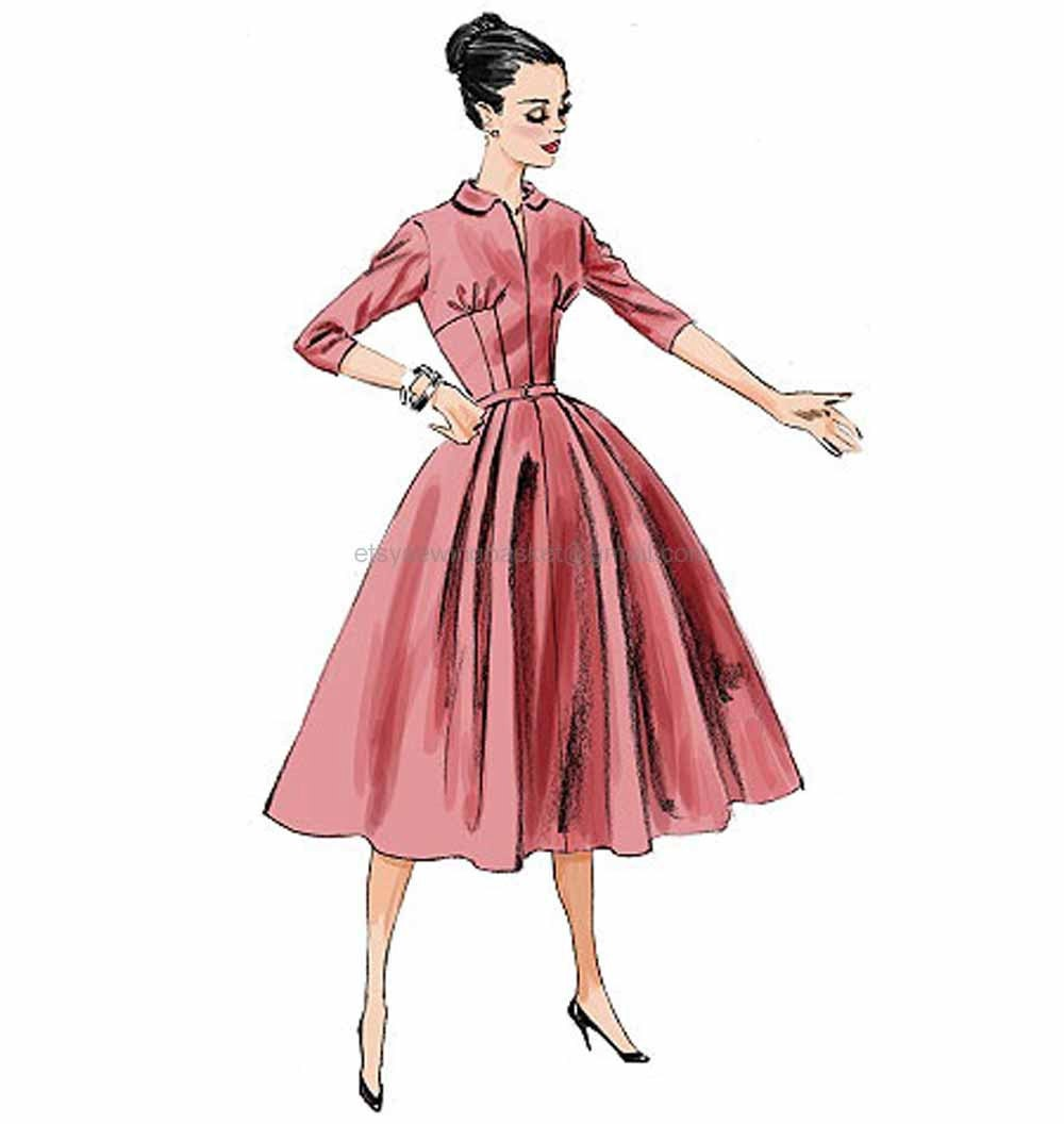50s Retro Dresses Butterick 5813 Pattern Sizes 6 To 14