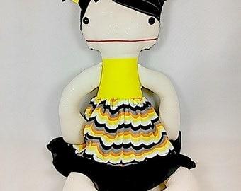 Cloth Plush Doll - Girl Rag Doll in Yellow, Orange, Black Dress - Black Hair Cloth Doll