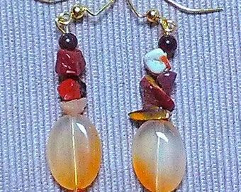grand canyon: stone bead earrings featuring mookiate, carnelian and red tigereye