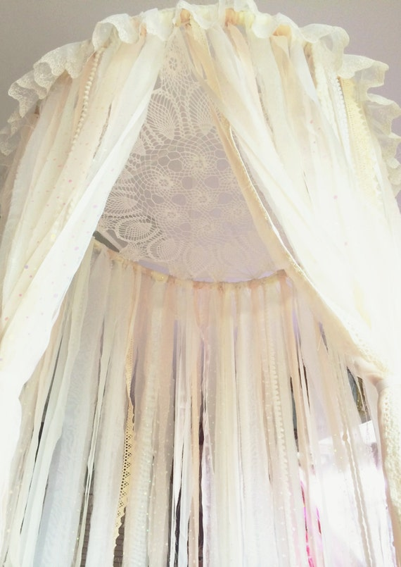 SALE Big Shabby Chic Boho White Pale Pink Dreamcatcher Canopy